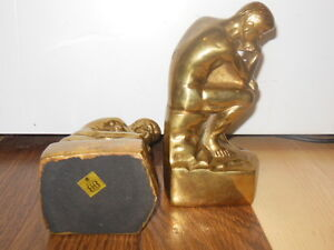 Vintage Brass bookends- Rodin's-The Thinker- Birks London Ontario image 5