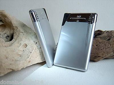 2er Set Exklusive Elektronik Gas Feuerzeuge Modell Card zum Aktionspreis Silber