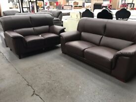 Brand new - maxi 3 & 2 sofa set in black leather - RRP 699 - now reduced - delivered - brand new