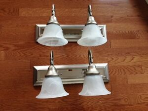 VANITY LIGHTS WITH FROSTED GLASS SHADES - LIKE NEW