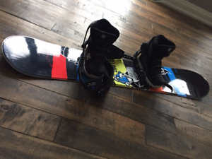 Youth snowboard, bindings, and boots.
