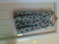 pin up blue floral swing style dress size 16