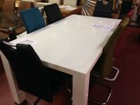New & boxed small compact modern 4 ft white high gloss dining table £149