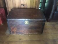 Antique vintage wooden trunk