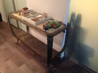 Metal and glass buffet side table