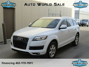 2013 AUDI Q7 3.0 T QUATTRO|WHITE WITH RED WINE INTERIOR-PAN ROOF