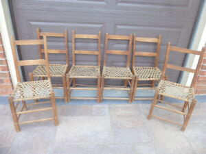 6 ANTIQUE PRIMITIVE CANADIANA RUSTIC CHAIRS