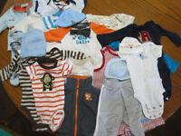 Boys NB-3m Clothing Lot & Baby Blankets