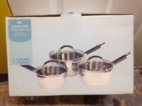 Stainless steel kitchen pan set of 3 pans boxed