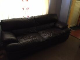 Leather Sofa + Matching Chair