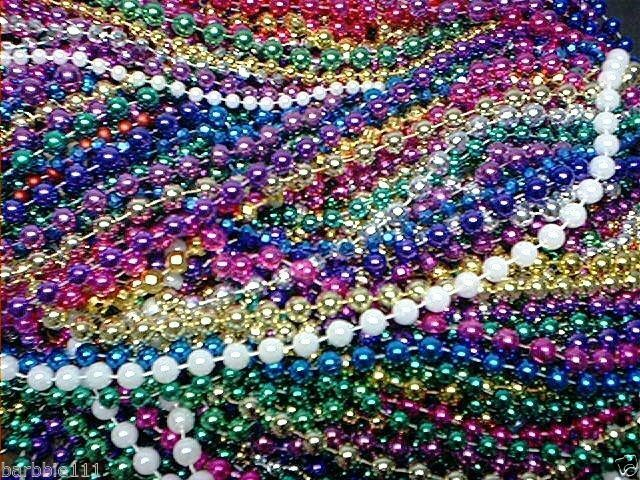200 Mardi Gras Beads Bulk Lot Necklaces Free Shipping Party Favors Multi-color