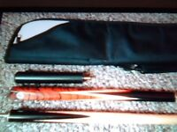 new 3/4 ash snooker cue + mini butt and black soft fur case with shoulder strap and 2 pockets.