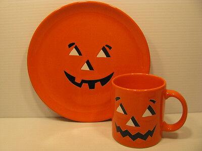 Halloween Jack O Lantern Face 2pc Snack Set Waechtersbach German Stoneware](Halloween Jack O Lantern Faces)