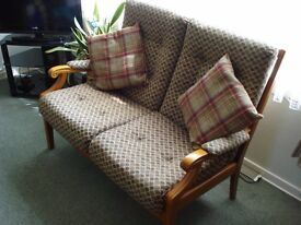 CINTIQUE SOLID ASH TWO SEATER LOUNGE / CONSERVATORY CHAIR