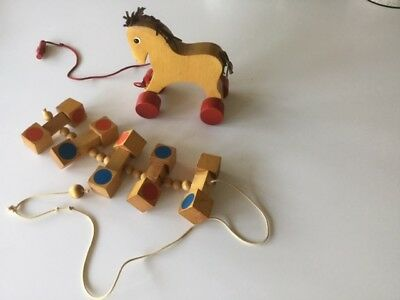HABA Vintage Wooden Horse Pull Toy & CREATIVE PLAYTHINGS Wooden Cubes Pull Toy
