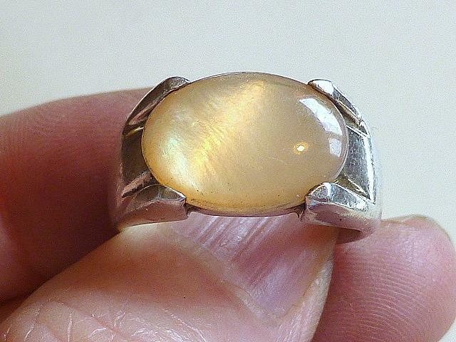 Modernist Espo JOSEPH ESPOSITO Moonstone Sterling Silver Ring 7 3/4
