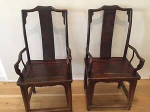 Antique Elm Carver Chairs (Pair) Caulfield North Glen Eira Area Preview