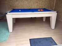 Pool /Dining Table, Blue Cloth, 2 x sets of balls, cues, chalk etc. Ligh Oak