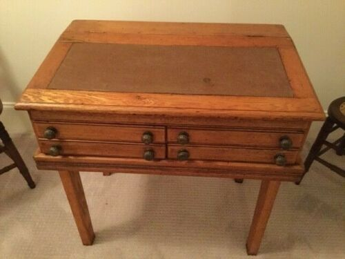 Antique Oak 4 Drawer Mercantile Store Spool Thread Cabinet Desk On Legs