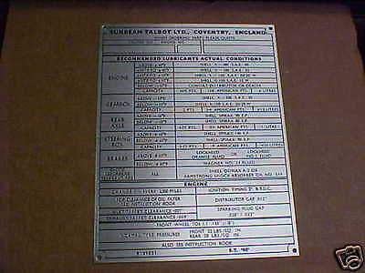 Sunbeam Talbot Car Data Plate Acid Etched Aluminum Coventry England