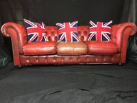 Vintage Traditional Quality Handmade Chesterfield Style Leather Sofa 3 Seater