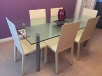 John Lewis Glass-Top Dining Table and 6 Cream Faux Leather Chairs