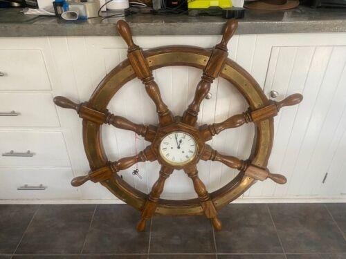 Antique Ship Wheel with German Clock
