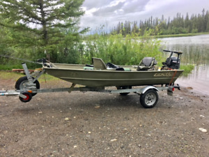 12 foot flat bottom boat and 9.9 motor