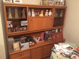 Schreiber lounge wall unit with drinks cabinet, glass fronted cupboards and drawers