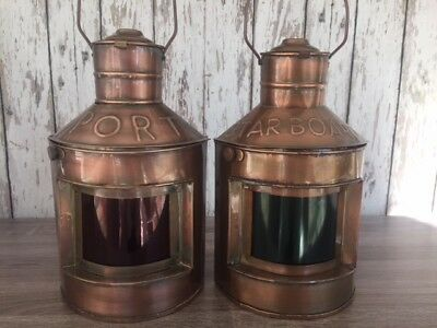 Copper Port & Starboard Lanterns ~ Set of 2 ~ Ship Oil Lamps ~ Nautical Light