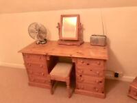 Pine dresser, stool, mirror and full length mirror