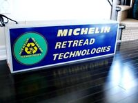 1970s MICHELIN RETREAD SIGN 2 sided LIGHT UP advertising WORKS