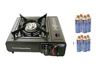 portable gas cooker x 2 plus 4 full gas canisters
