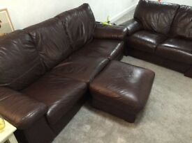 3 PIECE REAL ITALIAN LEATHER SUITE, 3 SEATER SOFA BED, 2 SEATER SOFA AND STORAGE PUFF