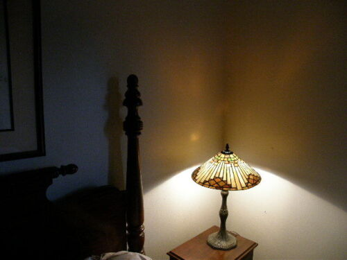 Vintage Handel / Tiffany Style Lamp with Leaded Stained Glass Shade Root Beer