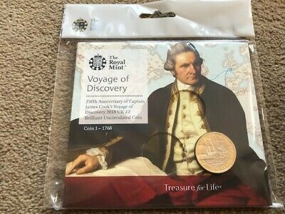 2018 Captain Cook 2 Pound Coin Pack. Coin 1 of 3. BU Sealed.