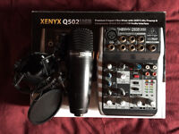 As-new Behringer Xenyx Q502 USB with Superlux condenser mic & shock mount