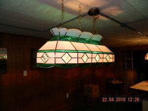 Tiffany-style pool table light.