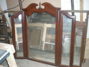 Beautiful Solid Wooden Tri Fold Mirror For Dresser