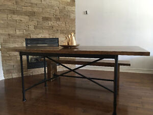 Solid wood rustic dining table set with a bench