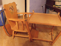 Cute old high chair that turns into table and chair  best offer