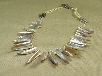 Vintage Ethnic Tribal Abalone MOP Fringe Bib Necklace w/ Cat Theme Toggle Clasp