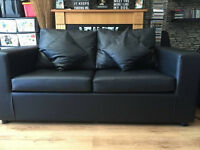 brand new faux 3 seater blck leather sofa