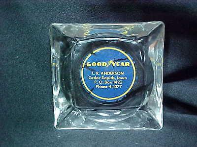 Vintage glass ashtray GOODYEAR L R Anderson Cedar Rapids Iowa ph. 4-1077