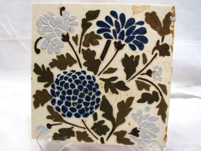 Early Majolica Glazed Ceramic Tile Art Nouveau Blue Corn Flower Floral Garden H
