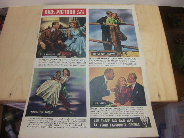RKO Pictures – 1947 full-page colour UK advert including It's a Wonderful Life