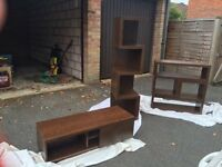 NEXT 'Mango' Effect Furniture, 3 Items - TV Unit, Tall Shelves & Multi Configuration Shelf Unit