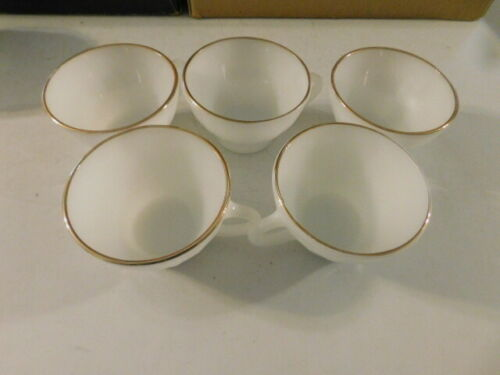 ANCHOR HOCKING FIRE KING MILK GLASS SWIRL PATTERN COFFEE TEA CUPS 5 EA GOLD TRIM