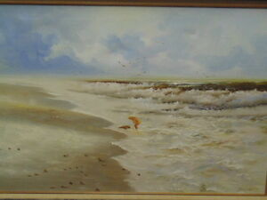 PAINTING OIL ON CANVAS -CHILD ON BEACH WITH DOG