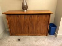 2 identical wooden office cupboards with lock and key - selling as a pair of individually